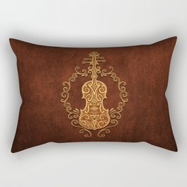 Aged Vintage Brown Tribal Violin Design Rectangular Pillow