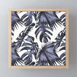 Classic Palm Leaves Navy Blue Framed Mini Art Print