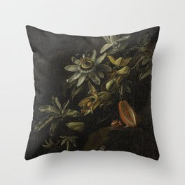 Still Life with Passionflowers - Elias van den Broeck (1670 - 1708) Throw Pillow