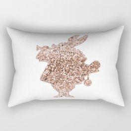 Sparkling rose gold Mr Rabbit Rectangular Pillow