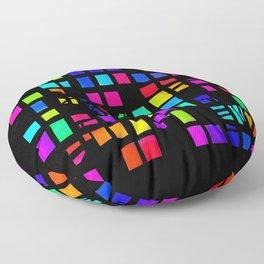Rainbow Pixel in darck Floor Pillow