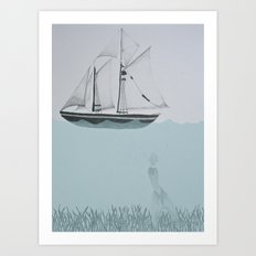 went on a ship of paper Art Print