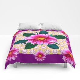 FUCHSIA DAHLIA FLOWERS ABSTRACT Comforters