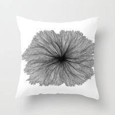 Jellyfish Flower B&W Throw Pillow
