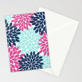 Pink Navy Aqua Flowers, Flower Burst, Floral Pattern, Flower Petals Stationery Cards