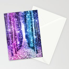 Magical Forest : Aqua Periwinkle Purple Pink Ombre Sparkle Stationery Cards