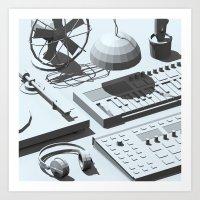 Low Poly Studio Objects 3D Illustration Grey Art Print