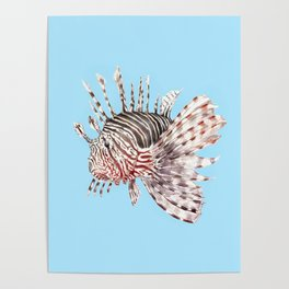 Watercolor Lionfish Tropical Fish Marine Life Painting Poster