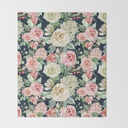 Country chic navy blue pink ivory watercolor floral Throw Blanket