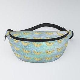 Gold butterflies on textured background Fanny Pack