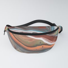 Geode Marble Brown Blue Fluid Modern Art Fanny Pack