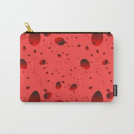 Large red drops and petals on a light background in nacre. Carry-All Pouch