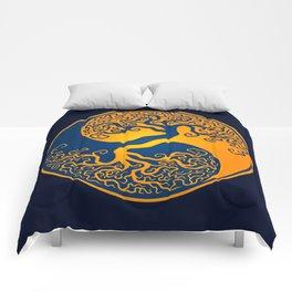Blue and Yellow Tree of Life Yin Yang Comforters