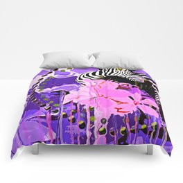 Zebras and Flowers Comforters