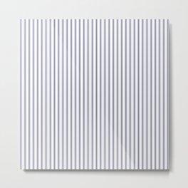 Mattress Ticking Narrow Striped Pattern in USA Flag Blue and White Metal Print