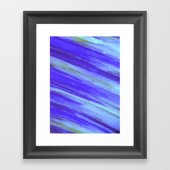 WASHED UP - Bold Blue Stripes Abstract Watercolor Painting Colorful Fun Surfer Ocean Waves Framed Art Print