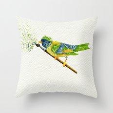 Feathers & Flecks (Canvas Background Edition) Throw Pillow