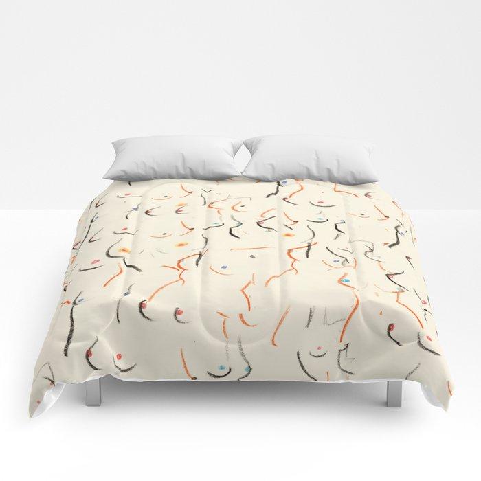 Breasts in Cream Comforters