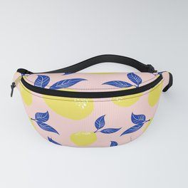 Yellow Lemons with Blue Leaves on Pink Stripes Fruit Print Fanny Pack
