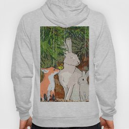 The red fox, the baby fox, the Hare and the baby hare Hoody