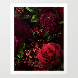 Mystical Night Roses Art Print