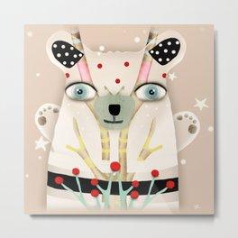 Bear 2018 polka Dots North Pole Snowing Stars Beige Cream Metal Print