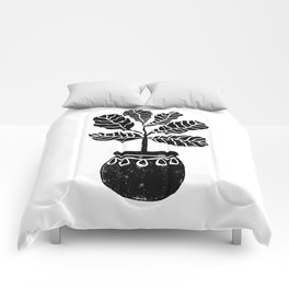 Fiddle Leaf Fig tree linocut black and white minimal modern lino carving monochromatic trendy art Comforters
