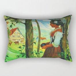Vintage Appenzell Switzerland Travel Poster Rectangular Pillow