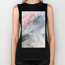Pastel Blush, Grey and Blue Ink Clouds Painting Biker Tank