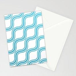 Blue Waves Pattern Stationery Cards