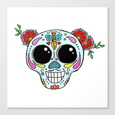 Sugar skull with flowers and bee Canvas Print