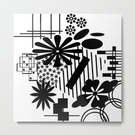 Black And White Flower Zentangle Metal Print