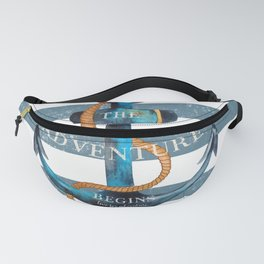 Maritime Design - Nautic Anchor on stripes in blue and red Fanny Pack