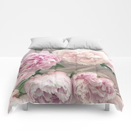 Shabby Chic Pastel Pink Peonies Wall Art - Peonies Home Decor Comforters