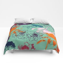 fall floral green Comforters