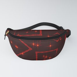 Maroon rhombuses and squares at the intersection with the stars on a dark background. Fanny Pack
