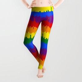 Manhattan Skyline NY Pride Rainbow Stripe Leggings