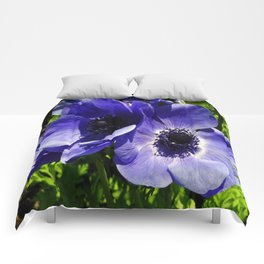 Two Blue Mauve Anemone - Close Up Windflowers  Comforters