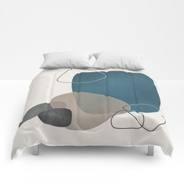 Abstract Glimpses in Aqua and Taupe Comforters