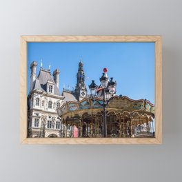 Merry go round on the square in front of the City Hall - Paris Framed Mini Art Print