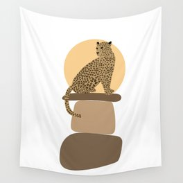 Leopard on the rocks Wall Tapestry