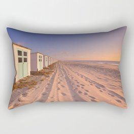Row of beach huts at sunset, Texel island, The Netherlands Rectangular Pillow