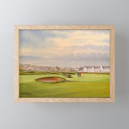 Carnoustie Golf Course Scotland With Clubhouse Framed Mini Art Print