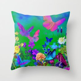 Green Butterflies & Flowers Throw Pillow