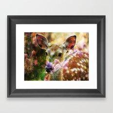 Fawn Peeking Through The Lilac Bushes By Annie Zeno Framed Art Print