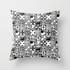 Black and White Abstract Squares Throw Pillow