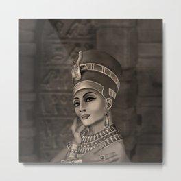Nefertiti - the Egyptian Queen - sepia Metal Print