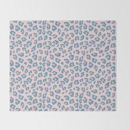 Leopard Print - Peachy Blue Throw Blanket
