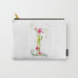 Letter I watercolor - Watercolor Monogram - Watercolor typography - Floral lettering Carry-All Pouch