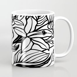 White Black Floral Minimalist Coffee Mug